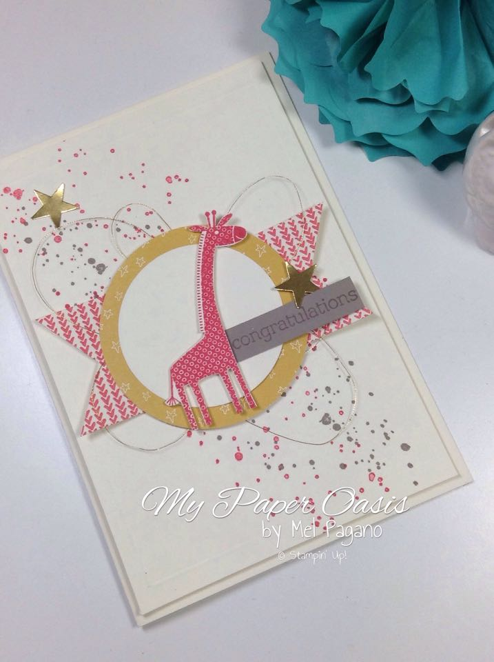 baby girl card, girl card, baby card, mypaperoasis, stampin up, sweet baby, watermelon wonder, zoo babies