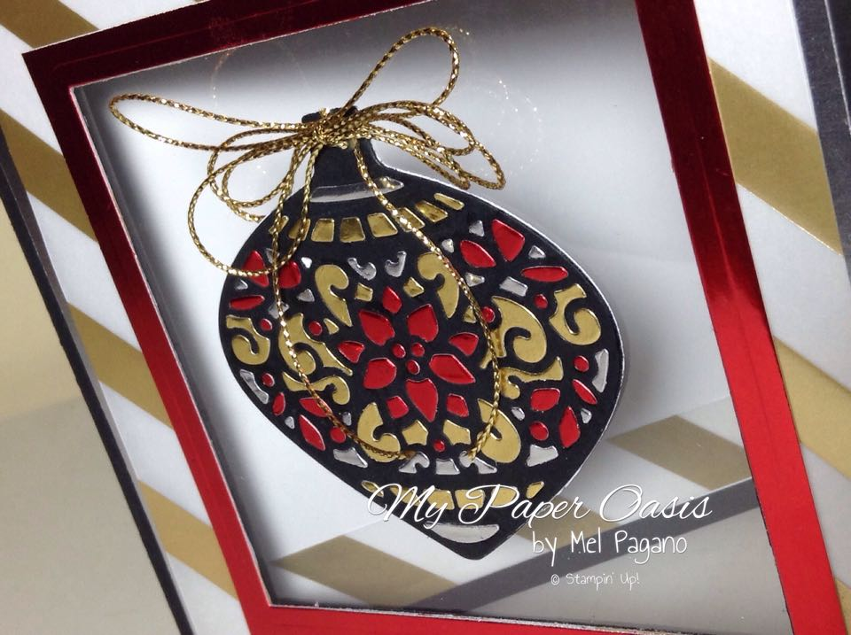 embellished ornament; delicate ornament thinlet, mypaperoasis, stampin up, christmas card