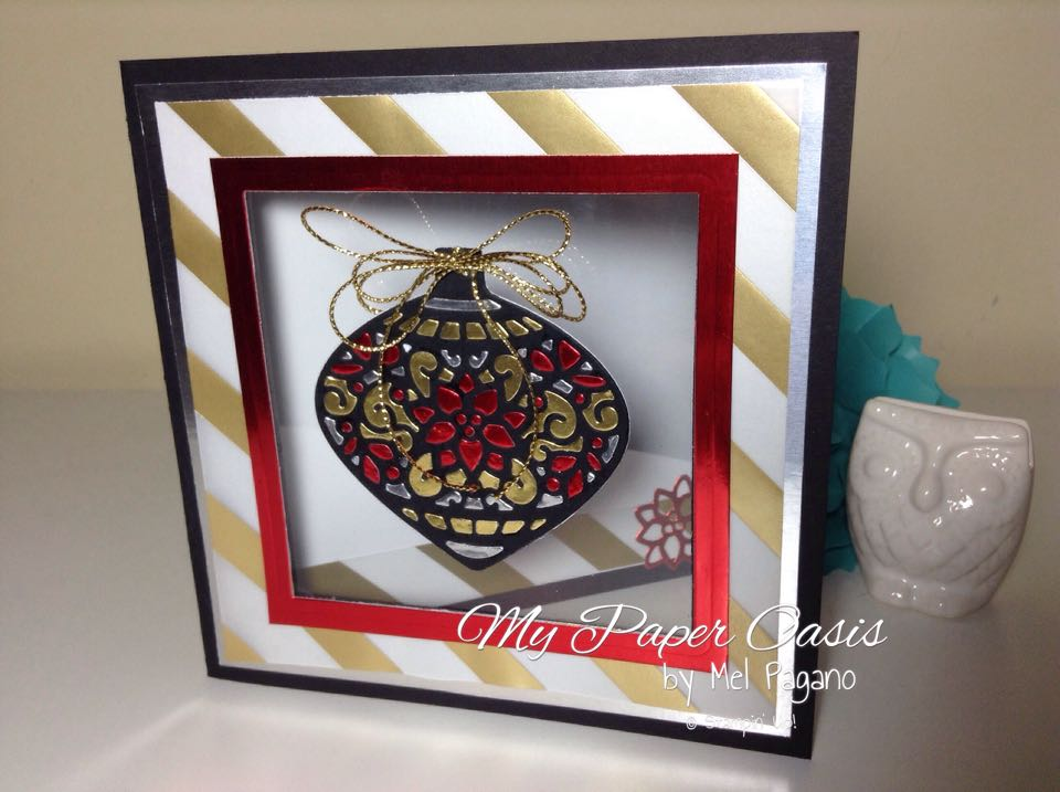 Embellished Ornament, Delicate Ornament Thinlit, Stained Glass Ornament, Christmas Card, My paper Oasis, Stampin Up, Foil Paper