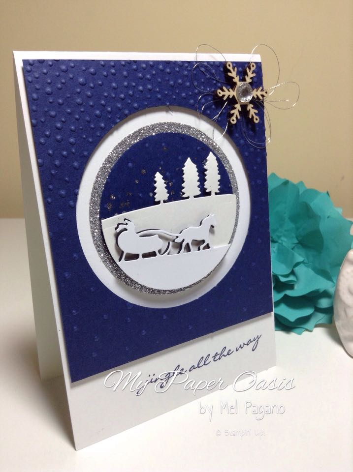 Christmas Card, stampin up, bauble, sleigh ride edgelits