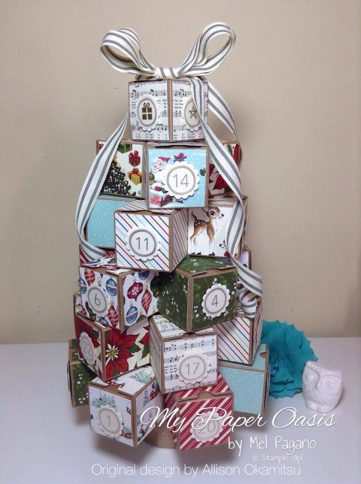 My Paper Oasis, Christmas Advent Tree, Home for Christmas DSP, Stampin Up