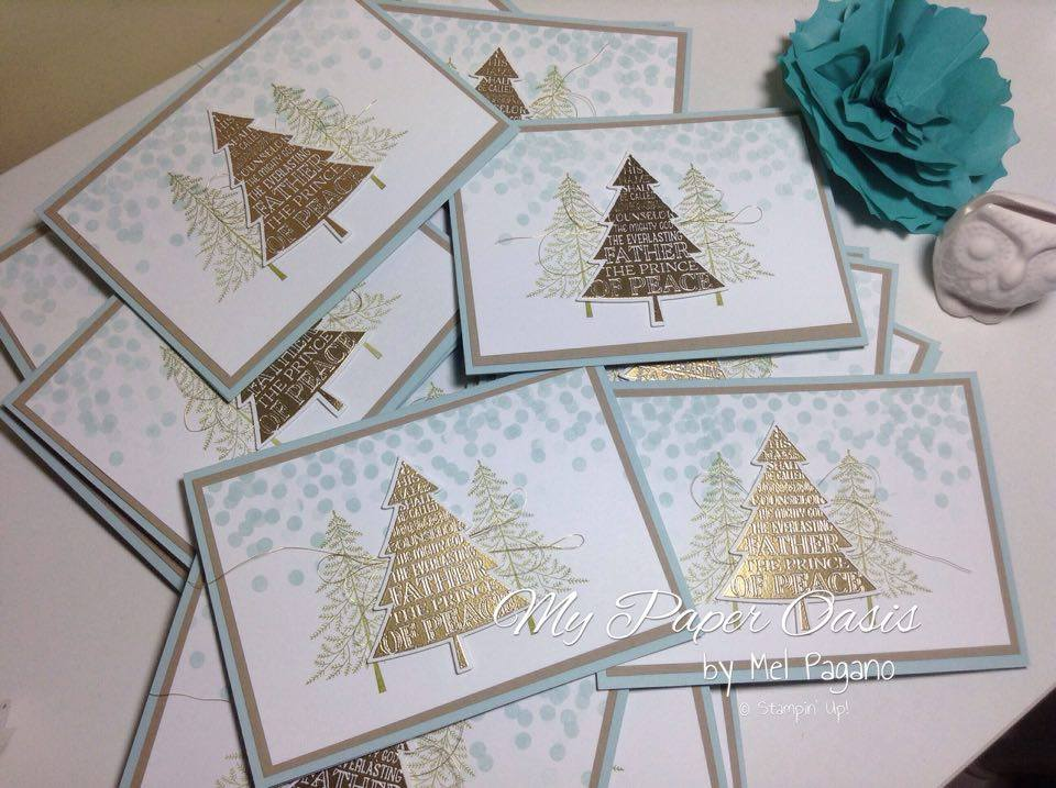 My Paper Oasis, Peaceful Pines, gold embossing, christmas card, handmade card