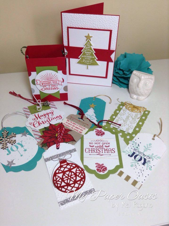 My Paper Oasis, Christmas Tags, Peaceful Pines, Stampin Up, Gift Bag Punch Board, Christmas Card, Holly Jolly Greetings