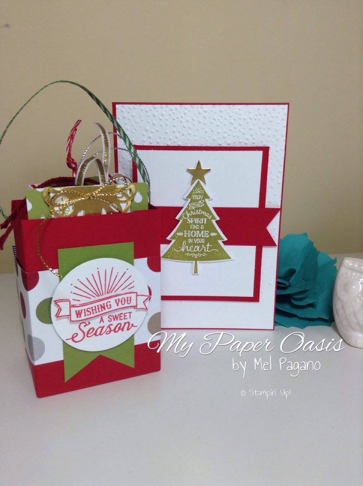 My Paper Oasis, Christmas Tags, Peaceful Pines, Stampin Up, Gift Bag Punch Board, Christmas Card