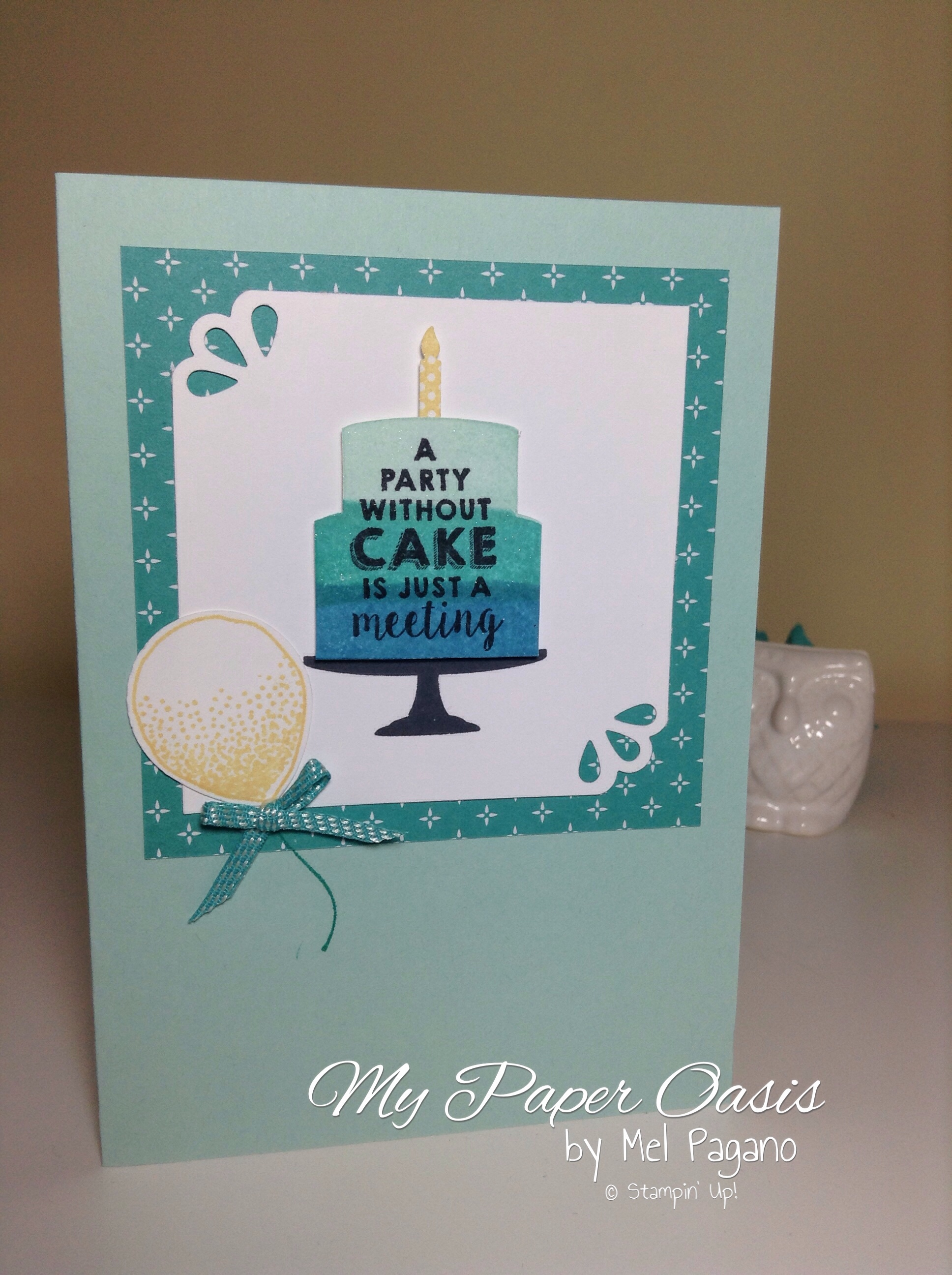 my paper oasis, GDP#018, Party wishes, birthday card, birthday cake, ombre cake