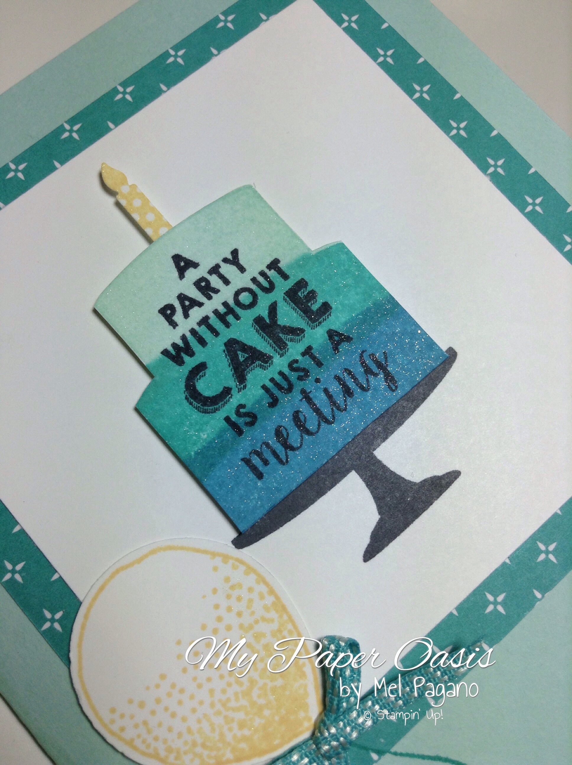 my paper oasis, birthday cake, birthday card, ombre cake, wink of stella, Party wishes, stampin up