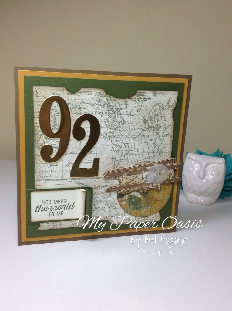 my paper oasis, sky is the limit, aeroplane card, stampin up, saleabration, vintage male card, birthday card, male birthday