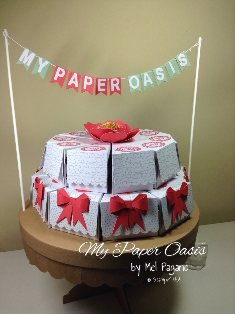 my paper oasis, stampin up, sweet stack project kit, paper cake, cake boxes, birthday cake boxes, gift packaging
