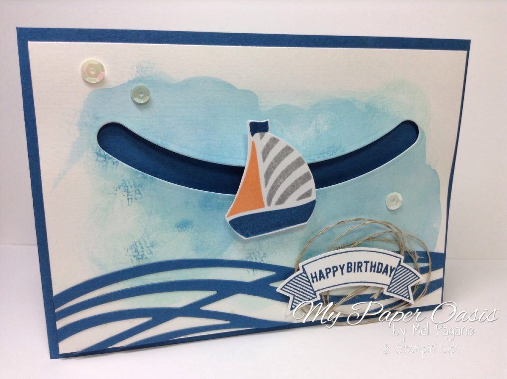 swirly bird, sliding stars, male birthday, boat card, slider card, my paper oasis, stampin up