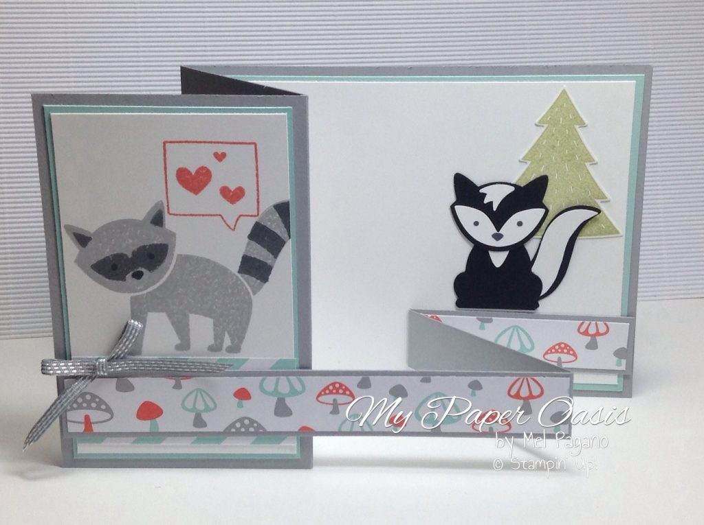 Foxy Friends Suite Double z Folded card by My Paper Oasis, stampin up products, racoon and skunk.