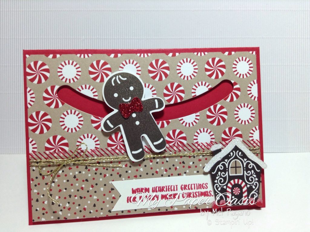 candy lane suite meets sliding stars framelits in this adorable christmas card by My Paper Oasis. Gingerbread man, sliding star, christmas card, stampin up.