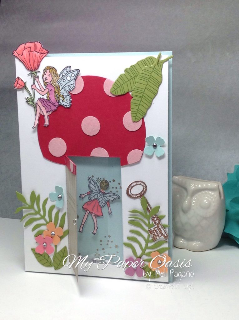 Creating a Magical fairy toadstool with an opening door shaker card with My Paper Oasis, fairy celebration, fairy card, magical, stampin up.