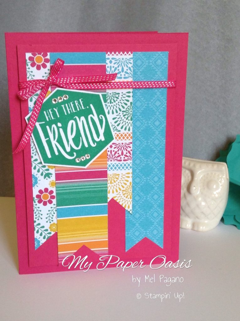 make a quick card using designer paper scraps by My Paper Oasis; stampin Up; designer paper; birthday card; festive birthdays; quick cards