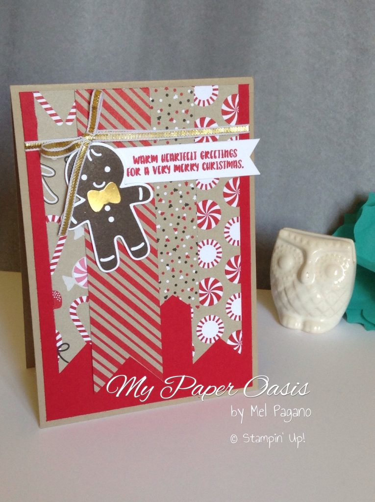 make a quick card using designer paper scraps by My Paper Oasis; stampin Up; designer paper; cookie cutter bundle; christmas card; candy cane lane; quick cards