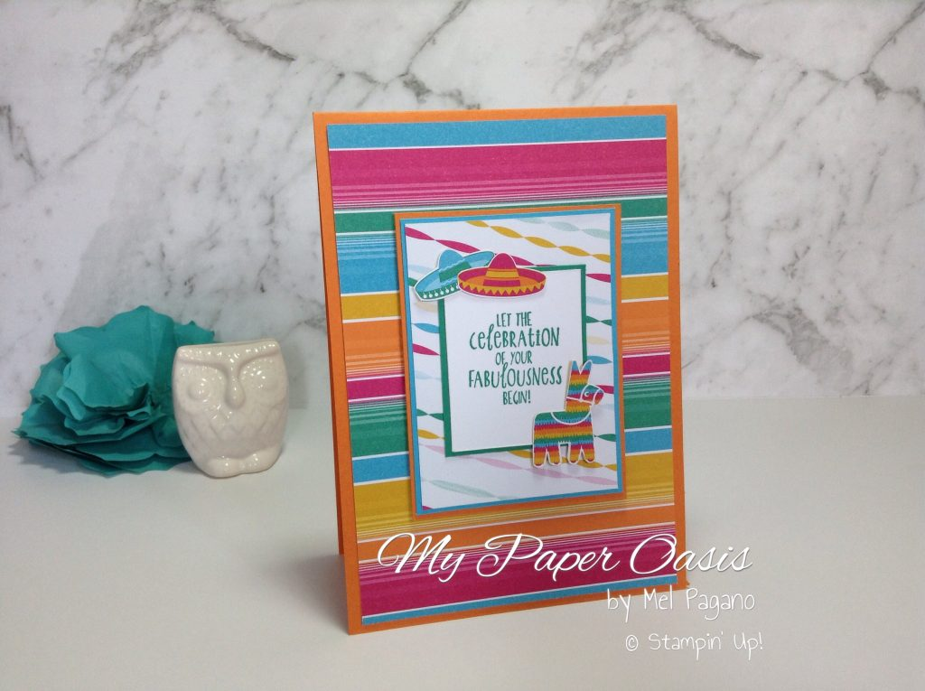 Festive Birthdays Designer Paper layered card by My Paper Oasis; Stampin Up; Birthday Crad; quick cards; simple cards; using designer paper