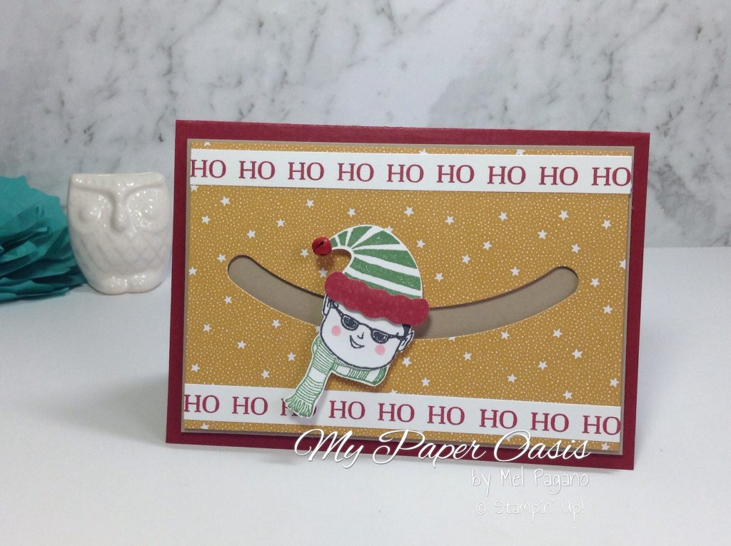Tutorial using the Jolly Friends bundle and Sliding Star Framelits by My Paper Oasis; stampin up; christmas card; magic elf; elf on a shelf; fun card; elf card