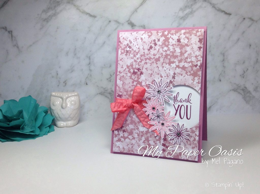 Quick Window Card with video tutorial by My Paper Oasis using Grateful Bunch from Stampin Up; Designer Paper; Blooms and Bliss; Female Card; Birthday Card; Thank you card