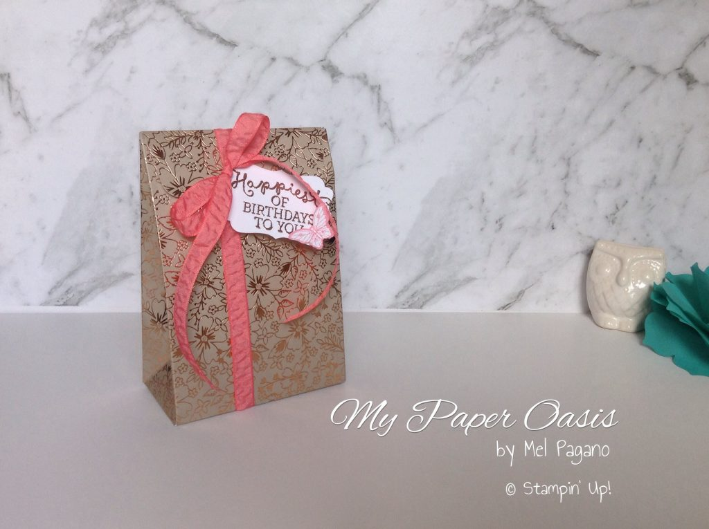 Gift Bag Punch Board tutorial by My Paper Oasis, Stampin Up Pop of Pink Paper and Pop Of Paradise stamp set, Gift bags, wrapping, presents, packaging, christmas packaging