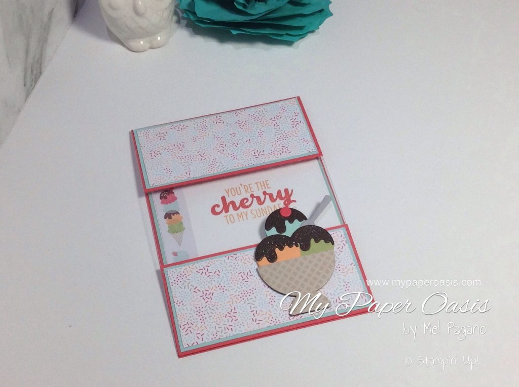 Cool Treat Acetate Card with measurements and tutorial by My Paper Oasis, Stampin' Up!, acetate card, frozen treats, window card, acetate window card