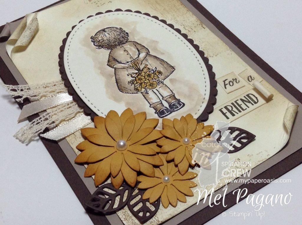 Colour INKspiration #08 Sneak Peak from the upcoming Birthday Memories Suite by My Paper Oasis, Birthday Delivery, Stampin Up, Sepia Colouring, Vintage Card