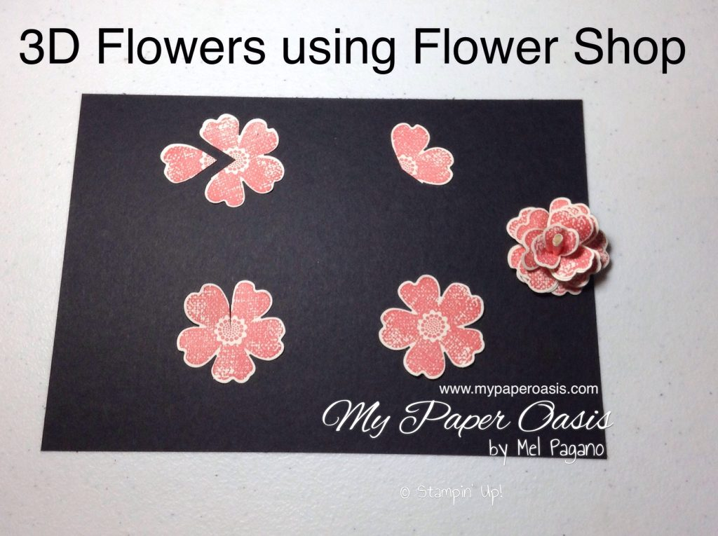 How to create stunning 3D flowers using the Flower Shop Stamp and Pansy Punch by My Paper Oasis, Stampin' Up!, 3D flowers, paper flower art