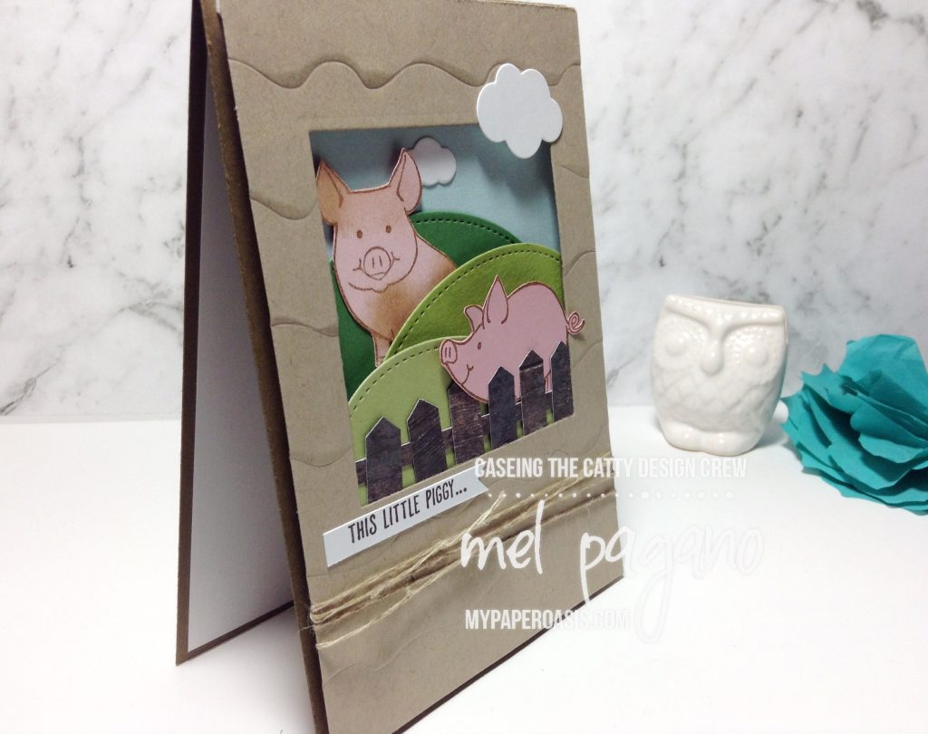 My Little Piggy by Stampin Up for CTC 138 with Mel Pagano at My Paper Oasis. Fantastic layout for fences, hills and piggies frolicking in the yard.