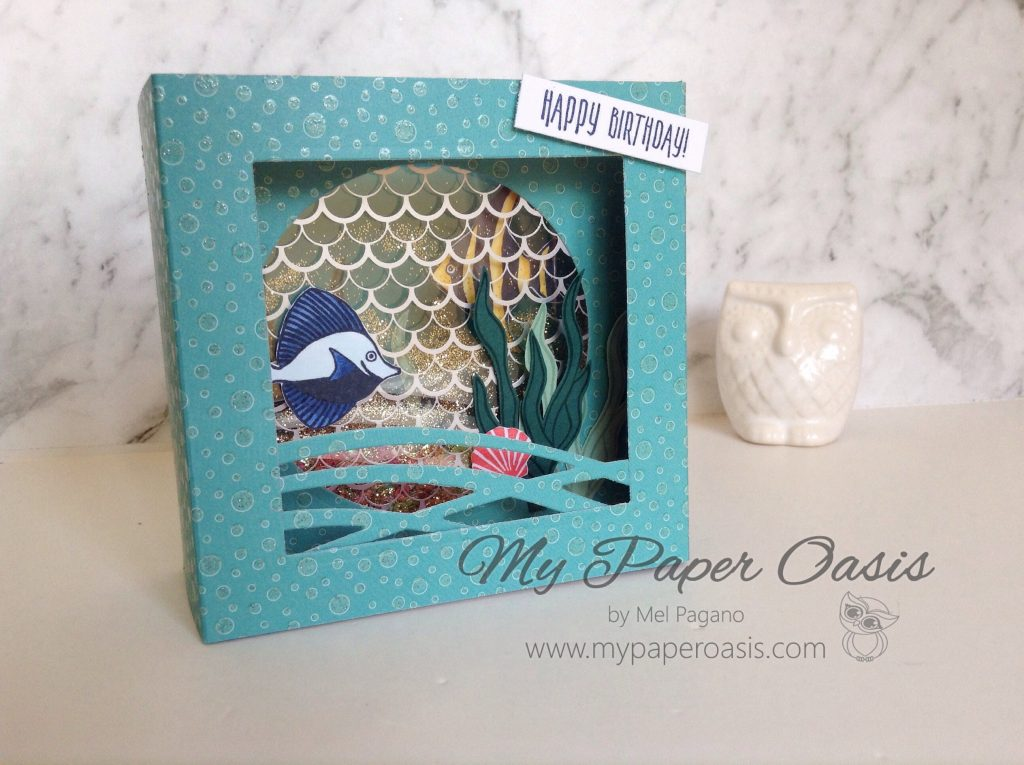Seaside Shore Shaker Shadow Box Card by Mel Pagano at My Paper Oasis