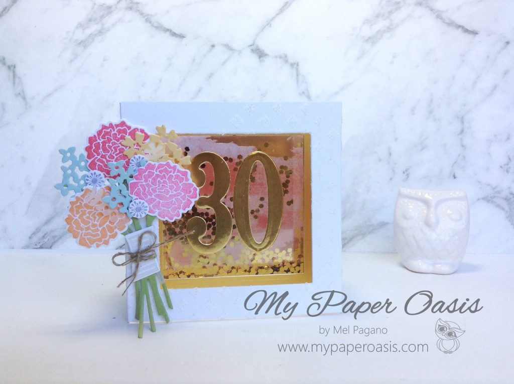 My Paper Oasis - Shaker Shadow Box Card using Beautiful Bouquet from Stampin' Up!